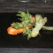 真鱒の焼き物と山菜の揚げ物