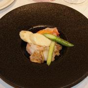 大海老、イタヤ貝、アスパラ、マコモのあっさり炒め