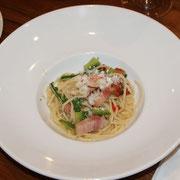 大和豚のパンチェッタと山菜のスパゲッティーニ