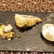 前菜3点盛り(下仁田ネギ、太ゴボウ、生牡蠣)