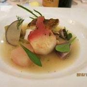 真鯛とホッキのポアレ、アイナメのエチュベ