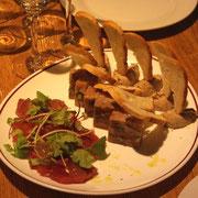 鮪のカルパッチョ、豚のパテなど
