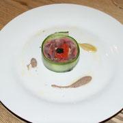 宮古産秋刀魚の軽いマリネ 肝のソースと秋刀魚のペーストで