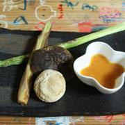 野菜の焼き物(アスパラ、姫筍、椎茸、マッシュルーム)
