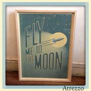 """Cuadro Grande """"Fly Me to the Moon """" (sin vidrio) / REF: CUA-045 / 65 x 50 cms./ 1 unidad / Arriendo: $ 10.000 / Garantia: $ 35.000"""