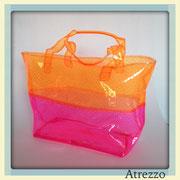 Bolso playa transparente naranjo y rosado / REF: VAR- 098 / 1 unidad/ Arriendo: $ 2.500 / Garantía: $ 10.000