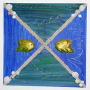 80 x 80 cm aufwendige Collage mit moedellierten Fischen