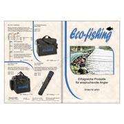Eco-fishing Prospekt, Seiten 1+4. Erfolgreiche Produkte für anspruchsvolle Angler.