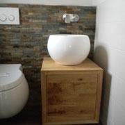 Waschbeckenschrank in Asteiche massiv, geölt