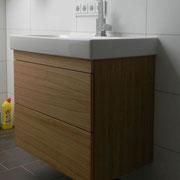 Waschbeckenunterschrank Eiche massiv, geölt