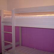 Stockbett in Buche voll massiv, weiß gebeizt und lackiert!