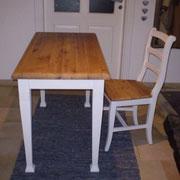 Schreibtisch weiß / Altholz
