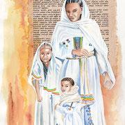 TIMKET -aquarelle31X41- Dans leur plus beaux atours, les familles fêtent l'épiphanie, principale fête religieuse de l'Ethiopie orthodoxe