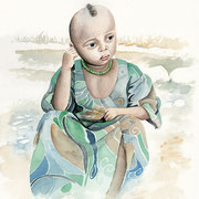 Fillette Amhara  -aquarelle 31x41-