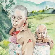 fillette au village de Gisakura -Rwanda-aquarelle 31X41- Les enfants sont nombreux et les bébés confiés à la garde des aines.
