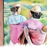 Sakaivo- femmes de l'ethnique Zafimaniry  -aquarelle 31x41-