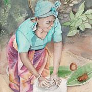 Rwanda- aquarelle 31X41-Confection de la bière de banane. Une femme réduit le mil en farine pour le mélanger avec le jus et obtenir une fermentation