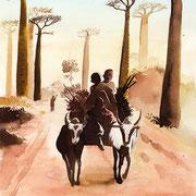 Baobabs de Monrondave Maddagascar -aquarelle 30x40