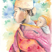 jeune fille au bebe -Zafimaniry -Madagascar- aquarelle 31x46