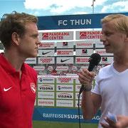 FC Thun - FC Luzern, 11.08.2013, Halbzeitinterview mit Lukas Schenkel