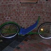Das Green, konsequent ökologisch aus alten Fahrradteilen. Es besticht durch seine klaren Linien im ganzheitlichen Ansatz und fährt dabei wie ein neues Rad.
