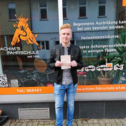 Nicklas Söchtig hat seinen B Führerschein seit dem 12.01.17