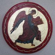 Engel, Symbol des Evangelisten Matthäus. Miniatur des Chitrovo- Evangelisten.5 Jhd.
