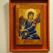 Erzengel Michael. Wandgemälde im Serbischen Kloster Mileseva,  Ausschnitt aus einer Darstellung der Faruen am Grabe. Um1236.