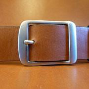 Ceinture cuir  - Fabrication Française -  Marron  -  4cm  -  Homme/Femme     www.Tribu-Cuir.com     Boucle n°001