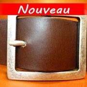 Ceinture cuir  - Fabrication Française -  Marron Foncé  -  4cm  -  Homme/Femme     www.Tribu-Cuir.com     Boucle n°016