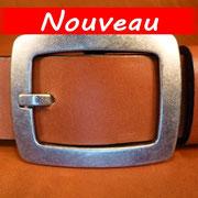 Ceinture cuir  - Fabrication Française -  Marron  -  4cm  -  Homme/Femme     www.Tribu-Cuir.com     Boucle n°006