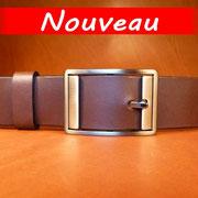 Ceinture cuir  - Fabrication Française -  Marron Foncé  -  3,5cm  -  Homme/Femme     www.Tribu-Cuir.com     Boucle n°028