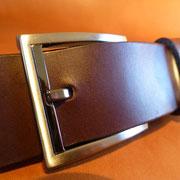 Ceinture cuir  - Fabrication Française -  Marron Foncé  -  3,5cm  -  Homme/Femme     www.Tribu-Cuir.com     Boucle n°016