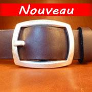 Ceinture cuir  - Fabrication Française -  Marron Foncé  -  4cm  -  Homme/Femme     www.Tribu-Cuir.com     Boucle n°018