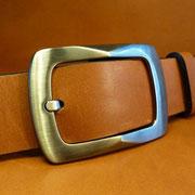 Ceinture cuir  - Fabrication Française -  Marron  -  4cm  -  Homme/Femme     www.Tribu-Cuir.com     Boucle n°008