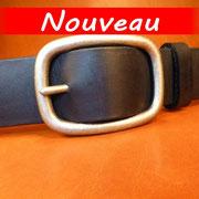 Ceinture cuir  - Fabrication Française -  Noir  -  4cm  -  Homme/Femme   www.Tribu-Cuir.com   Boucle n°017