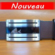 Ceinture cuir  - Fabrication Française -  Marron Foncé  -  3,5cm  -  Homme/Femme     www.Tribu-Cuir.com     Boucle n°037