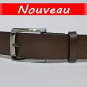 Ceinture cuir  - Fabrication Française -  Marron Foncé  -  3,5cm  -  Homme/Femme     www.Tribu-Cuir.com     Boucle n°034