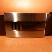 Ceinture cuir  - Fabrication Française -  Marron Foncé  -  3,5cm  -  Homme/Femme     www.Tribu-Cuir.com     Boucle n°024