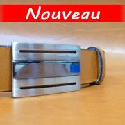 Ceinture cuir  - Fabrication Française -  Marron  -  3,5cm  -  Homme/Femme   www.Tribu-Cuir.com   Boucle n°037