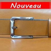 Ceinture cuir  - Fabrication Française -  Marron  -  3,5cm  -  Homme/Femme   www.Tribu-Cuir.com   Boucle n°034