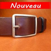 Ceinture cuir  - Fabrication Française -  Marron Foncé  -  4cm  -  Homme/Femme     www.Tribu-Cuir.com     Boucle n°019b