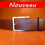 Ceinture cuir  - Fabrication Française -  Marron Foncé  -  4cm  -  Homme/Femme     www.Tribu-Cuir.com     Boucle n°015