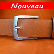 Ceinture cuir  - Fabrication Française -  Marron  -  4cm  -  Homme/Femme     www.Tribu-Cuir.com     Boucle n°013