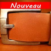 Ceinture cuir  - Fabrication Française -  Marron  -  4cm  -  Homme/Femme    www.Tribu-Cuir.com   Boucle n°020b