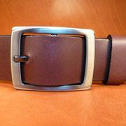 Ceinture cuir  - Fabrication Française -  Marron Foncé  -  3,5cm  -  Homme/Femme     www.Tribu-Cuir.com     Boucle n°030