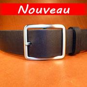 Ceinture cuir  - Fabrication Française -  Noir  -  4cm  -  Homme/Femme   www.Tribu-Cuir.com   Boucle n°019a