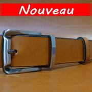 Ceinture cuir  - Fabrication Française -  Marron  -  3,5cm  -  Homme/Femme   www.Tribu-Cuir.com   Boucle n°038