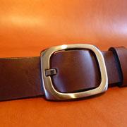 Ceinture cuir  - Fabrication Française -  Marron Foncé  -  3,5cm  -  Homme/Femme     www.Tribu-Cuir.com     Boucle n°004