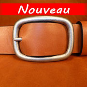 Ceinture cuir  - Fabrication Française -  Marron  -  4cm  -  Homme/Femme     www.Tribu-Cuir.com     Boucle n°017